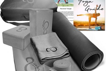 Live Infinitely Complete 6 Piece Yoga Set 6mm Dual Layer Non-Slip TPE Yoga Mat, 2 EVA Foam Blocks, 6' Cotton Strap, Mat Sized Exercise Towel & Carrying Case- Perfect Kit for Any Yogi & Beginners