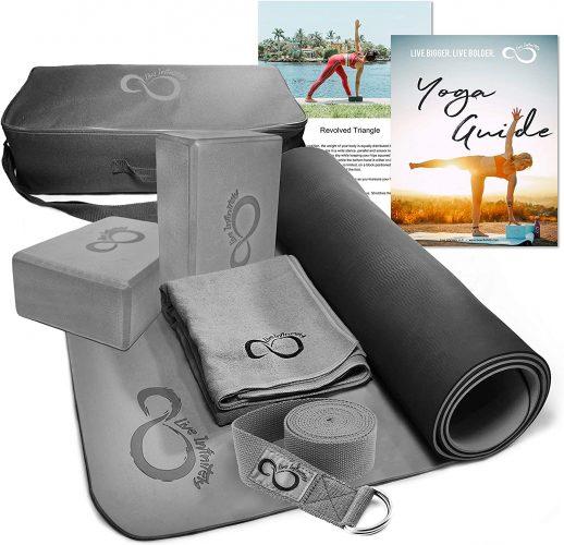 Live Infinitely Complete 6 Piece Yoga Set 6mm Dual Layer Non-Slip TPE Yoga Mat, 2 EVA Foam Blocks, 6' Cotton Strap, Mat Sized Exercise Towel & Carrying Case- Perfect Kit for Any Yogi & Beginners