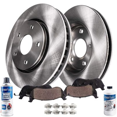 Detroit Axle - Pair (2) Front Disc Brake Rotors w/Ceramic Pads, Hardware & Brake Cleaner & Fluid for 2003-2011 Town Car, Grand Marquis, Marauder, Crown Victoria - See Fitment