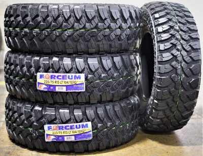 Set of 4 (FOUR) Forceum M/T 08 Plus Mud-Terrain Radial Tires-LT235/75R15 104/101Q LRC 6-Ply