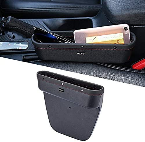 Mr.Ho Console Side Pocket with Genuine Leather Edge, Car Seat Catcher Gap Filler Side and Caddy Pocket Organizer, Extra Storage Space in Car - in Between Car Seat Catcher (Driver's Seat)
