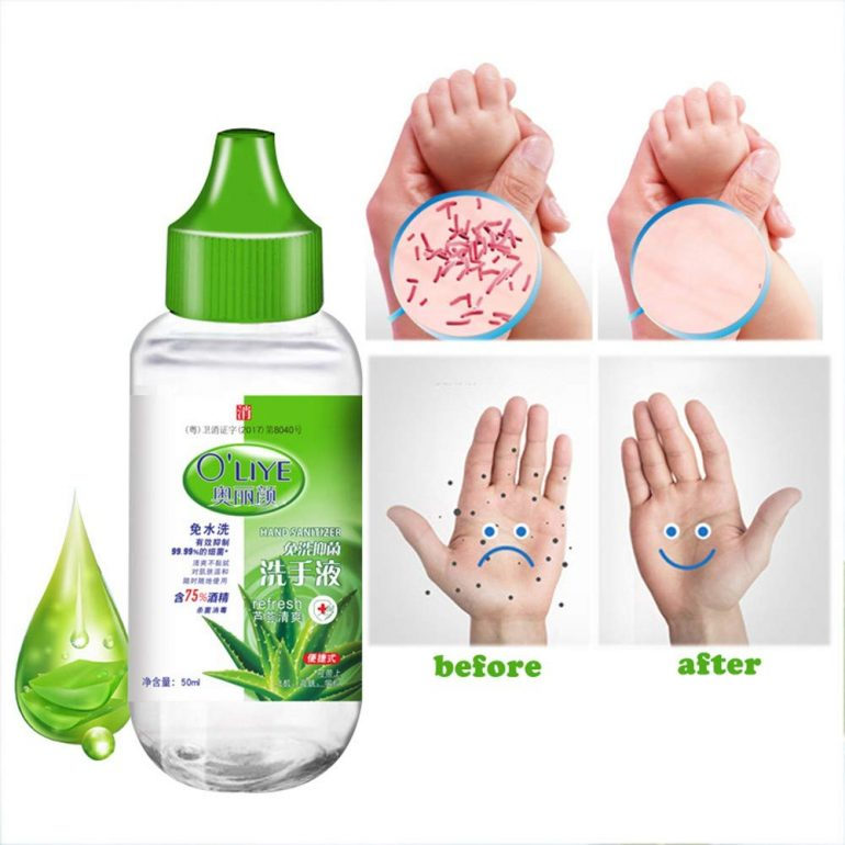 Herbal Moisturizing Hand Sanitizer - Advanced Hand Sanitizer with 75% Alcohol and Aloe, 50ml Travel Portable Mini Hand Sanitizer Gel Moisturizing Disposable No Clean Waterless Clear Bottle
