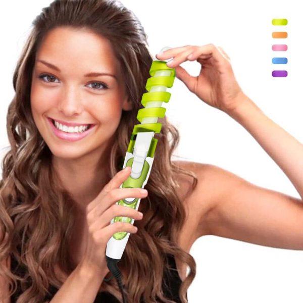 SexyBeauty Professional Portable Hair Salon Spiral Curl Ceramic Curling Iron Hair Curler Waver Maker Curling Wand (Green)