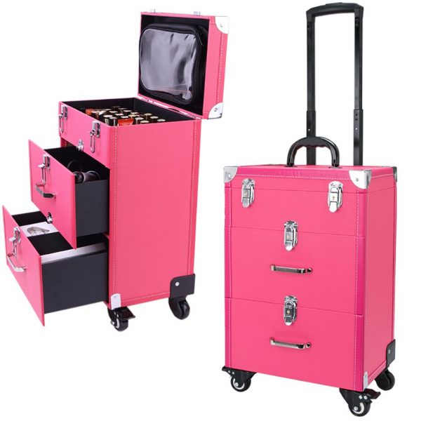 Rolling Makeup Case, Qivange Professional Trolley Train Case Large PU Leather Lockable Nail Polish Holder for Artists Nail Techs Travel Jewelry Cosmetic Train Case w/ 4 Wheels, Rose Red