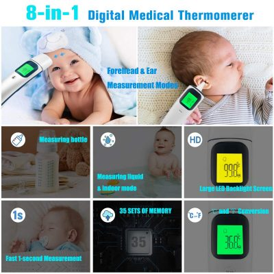 [2020 Upgraded]New Digital Medical Forehead and Ear Thermometer 8-in-1 Professional Infrared Temporal Fever Thermometer 1s Instant Accurate Reading for Baby Kids Adults Indoor Outdoor