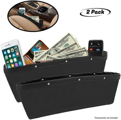 lebogner Black Gap Filler Premium PU Full Leather Console Pocket Organizer, Interior Accessories, Car Seat Side Drop Caddy Catcher, 2 Pack
