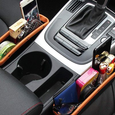 Car Seat Pockets PU Leather Car Console Side Organizer Seat Gap Filler Catch Caddy with Non-Slip Mat 9.2x6.5x2.1 inch Brown Black(2 Pack) Powertiger