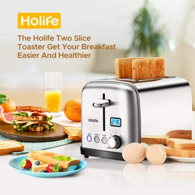 "Holife, 2 Slice Prime Rated Toas [LCD Dispaly] Stainless Steel Toaster (6 Bread Settings Bagel/Defrost/Reheat Function, 1.5"" Wide Slots, Removable Crumb Tray, 900W), Silver"