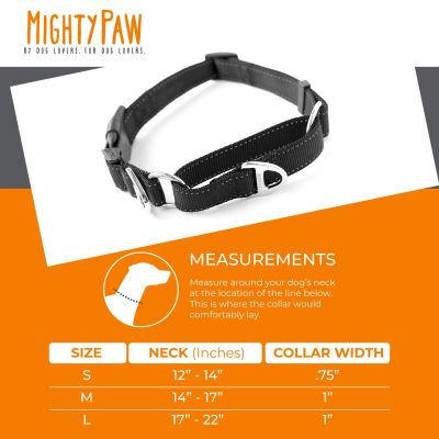 Mighty Paw Martingale Nylon Training Collar. Our Trainer Approved Limited Slip Collar. Modified Cinch Collar for Controlled Force for Optimal Training. Reflective Stitching to Keep Your Dog Safe!