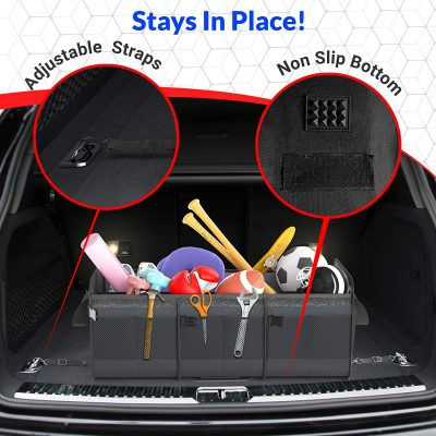 FORTEM Car Trunk Organizer, Foldable Cover, Waterproof Non Slip Bottom, Straps, Cargo Storage (3 Compartments, Black)