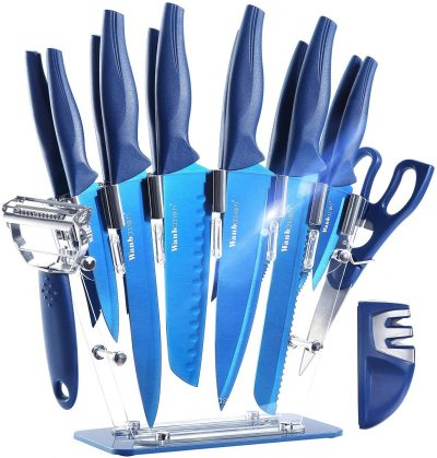 Wanbasion 13 Pieces Kitchen Knife Set Dishwasher Safe, Professional Chef Kitchen Knife Set, Kitchen Knife Set Stainless Steel with Knife Sharpener Peeler Scissors Acrylic Block