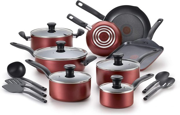T-fal B209SI Initiatives Nonstick Inside and Out Dishwasher Safe Oven Safe Cookware Set, 18-Piece, Red
