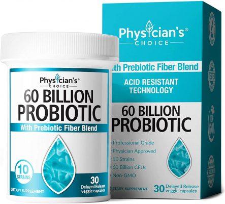 Probiotics 60 Billion CFU - Dr. Approved Probiotics for Women, Probiotics for Men and Adults, Natural; Shelf Stable Probiotic Supplement with Organic Prebiotic, Acidophilus Probiotic; 30 Capsules
