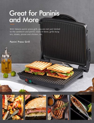 "Roll over image to zoom in        Panini Press Grill, Yabano Gourmet Sandwich Maker Non-Stick Coated Plates 11"" x 9.8"", Opens 180 Degrees to Fit Any Type or Size of Food, Stainless Steel Surface and Removable Drip Tray, 4 Slice"