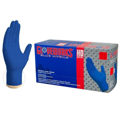AMMEX Gloveworks HD Industrial Royal Blue Nitrile Gloves with Diamond Texture Grip, Box of 100, 6 mil, Size Large, Latex Free, Powder Free, Textured, Disposable, GWRBN46100-BX