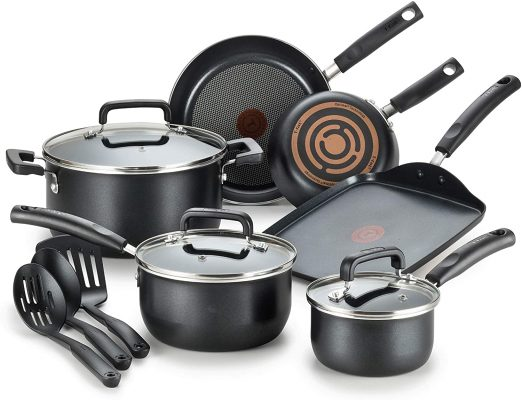 Roll over image to zoom in        VIDEO T-fal Signature Nonstick Dishwasher Safe Cookware Set, 12-Piece, Black
