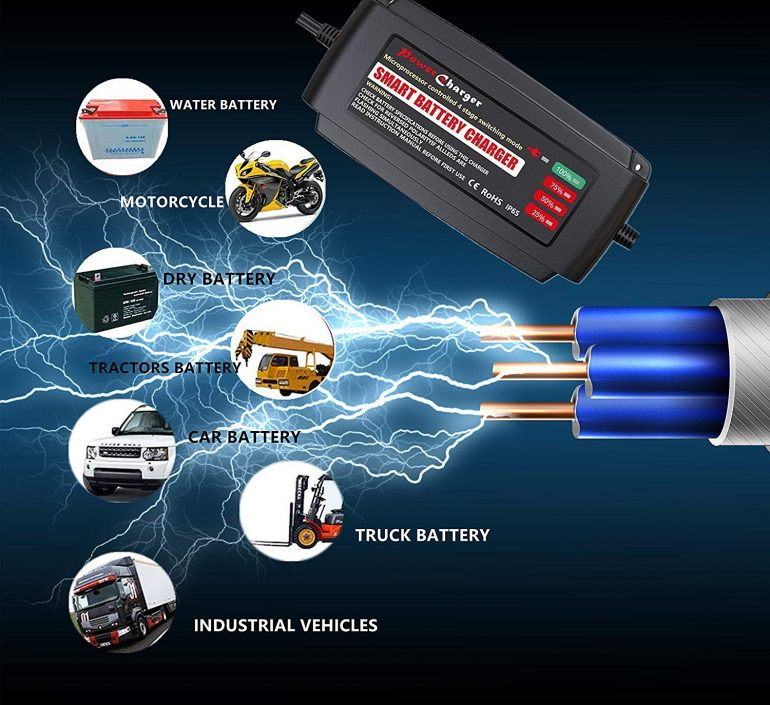 12Volt 2A /4A /8A Automatic Smart Battery Charger, 7 Stage Battery Charger for 12v AGM, GEL, SLA and Wet Battery, Desulfator & Maintainer Charging for Car Motorcycle Trucks Ships Lawn Mower RV ATV