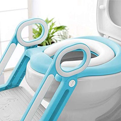 Toilet Ladder Potty Shelf Stool,Foldable Training Soft Seat for Kids, Adjustable Footrest, with Non-Slip Steps & Anti-Slip Pads Potty Step for Baby, Toddlers and Child, Blue and White