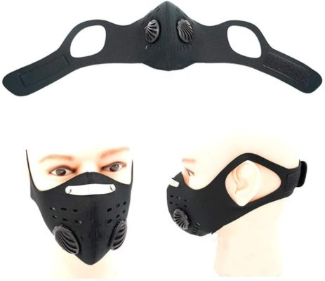 Black Sports Dust Mask with Replaceable Activated Carbon Filters Reusable Fask Mask Windproof Breathable Earloop Mouth Mask for Outdoor Running Cycling Mask
