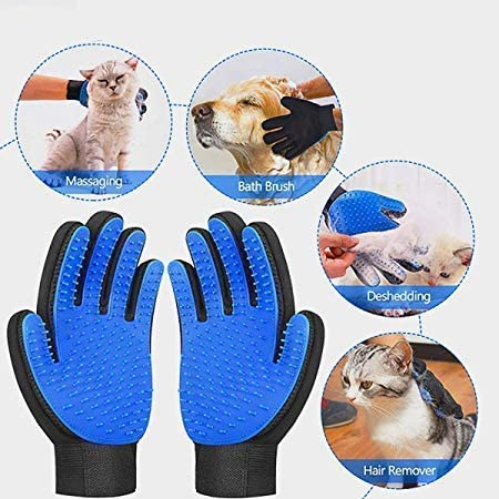 [Upgrade version]Pet Grooming Glove- Efficient Pet Hair Remover gloves- Gentle Deshedding Brush- Massage glove with Enhanced Five Finger Design- Perfect for Dogs & Cats with Long & Short Fur - 1 Pair