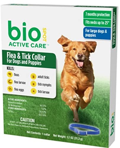 BioSpot Active Care Flea and Tick Collar for Large Dogs, 25-Inch