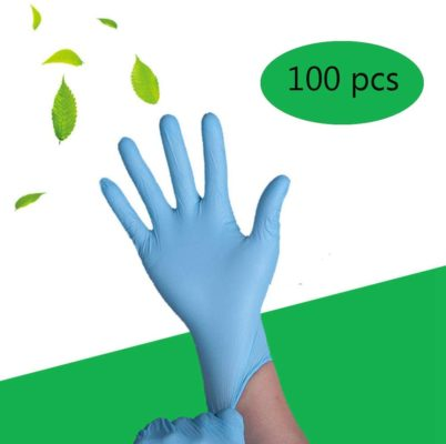 Blue Nitrile Gloves , Box of 100 pcs, 4 mil, Size Medium, Latex Free, Powder Free, Textured, Disposable, Non-Sterile