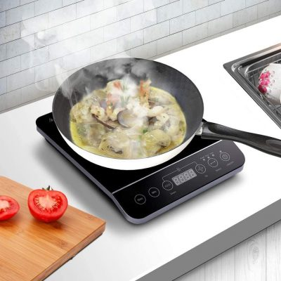 CUSIMAX Induction Cooktop 1800W Portable Induction Burner with Timer, Sensor Touch Electric Burner, 10 Temperature and 9 Power Setting, Kids Safety Lock for Cast Iron, Stainless Steel Cookware, 10.2''