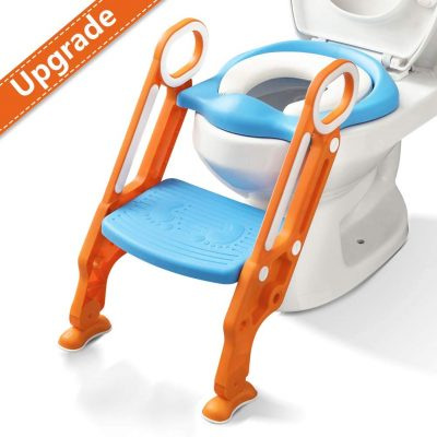 Potty Training Toilet Seat with Step Stool Ladder for Boy and Girl Baby Toddler Kid Children Toilet Training Seat Chair with Padded Seat Non-Slip Wide Step (Blue Orange Upgrade)
