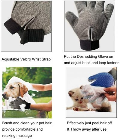 KAXYEW [Upgrade Version Pet Grooming Gloves - Efficient Dog Deshedding Glove - Cat Glove Brush- Pet Hair Remover Mitt Glove with Enhanced Five Finger Design for Dog & Cat with Long &Short Fur