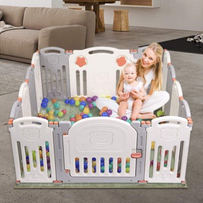 JOYMOR 14 Panels Foldable Baby Playpen BPA-Free Safety Play Yards Kids Activity Center with Locked Door Home Indoor Outdoor (Little Bear, Gray Beige 14 Panels)