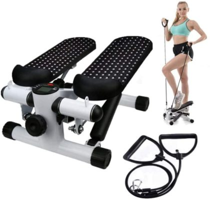 Office Stepper, Household Hydraulic Mute Stepper Aerobic Twister with Adjustable Resistance Bands - Multi-Function Pedal Indoor Cardio Training Exercise Machine Equipment