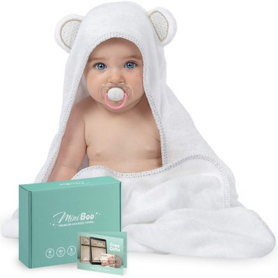 MINIBOO Organic Bamboo Hooded Baby Towel – Ultra Soft and Super Absorbent Baby Bath Towels for Newborns, Infants and Toddlers – Suitable as Baby Gifts