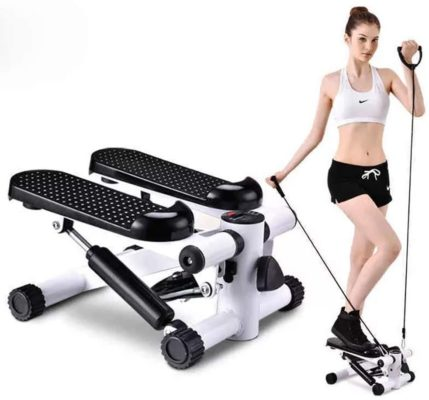 JRMU Fitness Stair Stepper,Mini Stepper Exercise Equipment,Multi-Function Pedal Air Stepper Climber with with Adjustable Resistance Bands and Display Screen White 30.5x33x20cm