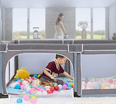 Baby Playpen Portable Kids Safety Play Center Yard Home Indoor Fence Anti-Fall Play Pen (Color : Gray)
