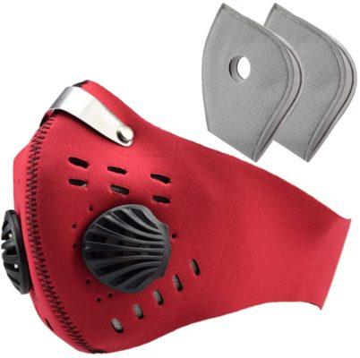 Carbon Filter, Anti Air Pollution Reusable Dust Mouth Cover, Air Filter for Cycling Running Outdoor Activities (Red)