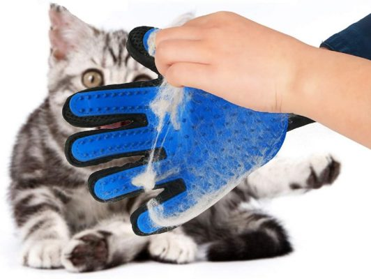 Pet Grooming Glove,Gentle Deshedding Brush Glove Efficient Pet Hair Remover Mitt,Enhanced Five Finger Design,Breathable & Comfortable for Dog,Cat,Horses with Long/Short Fur,1 Pair