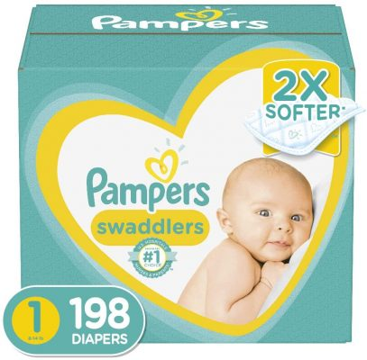 Diapers Newborn / Size 1 (8-14 lb), 198 Count - Pampers Swaddlers Disposable Baby Diapers, ONE MONTH SUPPLY