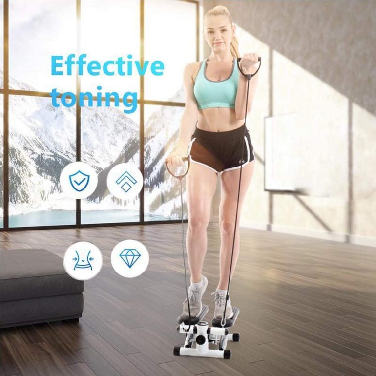 Iuhan Health Fitness Mini Stepper with Band, Household Gym Hydraulic Mute Stepper Multi-Function Pedal Indoor Sports Stepper Legs