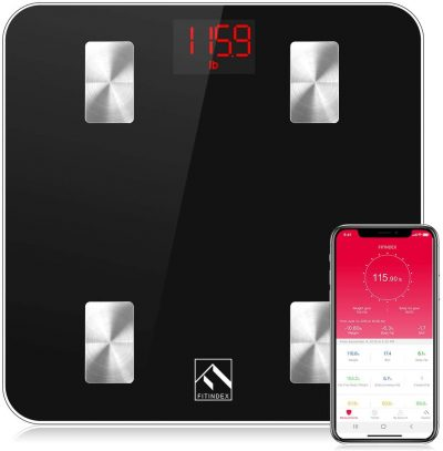 FITINDEX Smart Body Fat Scale, Bluetooth Digital BMI Weight Wireless Scale, Body Composition Monitor with Smartphone App for Body Weight, Body Fat, Muscle Mass, 396lbs - Black