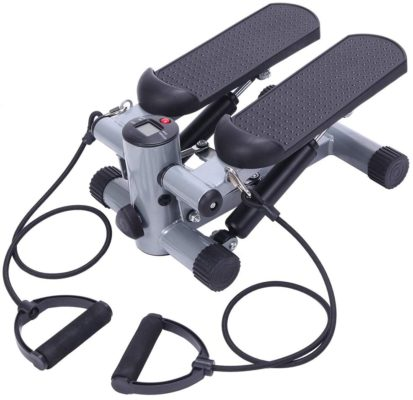 TECHMOO Mini Stepper Trainer Adjustable Height Stepper Exercise Machine with Resistance Bands and LCD Monitor Air Climber Stepping Fitness Machine