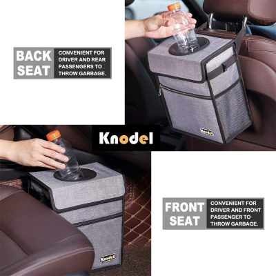 Knodel Car Trash Can with Lid, Leak-Proof Car Garbage Can with Storage Pockets, Waterproof Auto Garbage Bag Hanging for Headrest (Gray)