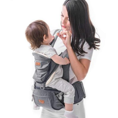 SUNVENO Baby Hipseat Ergonomic Baby Carrier Soft Cotton 3in1 Safety Infant Newborn Hip Seat for Outdoor Travel 6-36 Months (Gray)