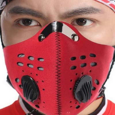 Dust Mask, Washable Reusable Anti Air Pollution Half Face Mouth Mask Adjustable PM2.5 Air Filter Mask Respirator (RED)