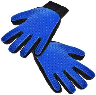 Hilltop Products 1 Pair - Dog, Cat, Pet Grooming Gloves - Easy Pet Hair Remover Mitts. Fiver Fingers Gloves Massage Tool