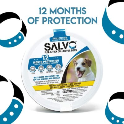 SALVO Flea and Tick Waterproof, Durable Collar for Dogs, Pack of 2 for 12 Month of Protection