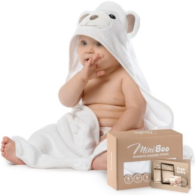 MINIBOO Premium Ultra Soft Organic Bamboo Baby Hooded Towel with Unique Design – Hypoallergenic Baby Towels for Infant and Toddler – Suitable as Baby Gifts