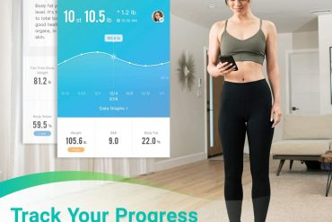 Fitnale Smart Digital Weight Scale, Bathroom Body Fat Analyzer Tracks 12 Key Compositions, Sync with Fitbit, Apple Health and Google Fit, 400 lbs, Black