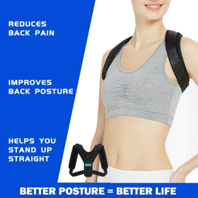 Adjustable Posture Corrector for Women and Men - Adjustable Back Braces - Upper Back Straightener Brace - Updated Version for Clavicle Support and Providing Pain Relief for Neck, Back and Shoulder