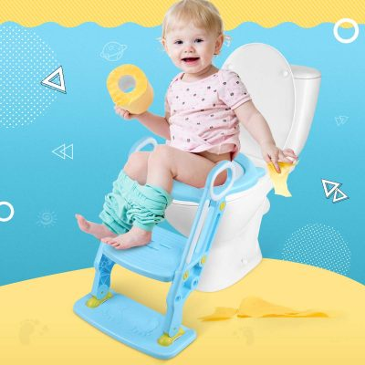 Little Helpers Potty Training Seat with Ladder, Adjustable Toddler Potty Seat for Toilet, Foldable Toilet Trainer with Safe Handles and Anti-Slip Wide Steps for Kids (Blue)