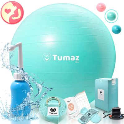 Tumaz Birth Ball or Exercise Ball -The Birth Ball Set Includes: Birthing Ball/Peri Bottle/Yoga Strap/Instruction Poster, The Perfect All-in-One Gift for Moms, Both Products Come with a Quick Foot Pump